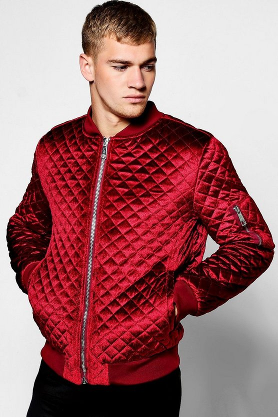 Wine Diamond Quilted Velour Bomber Jacket