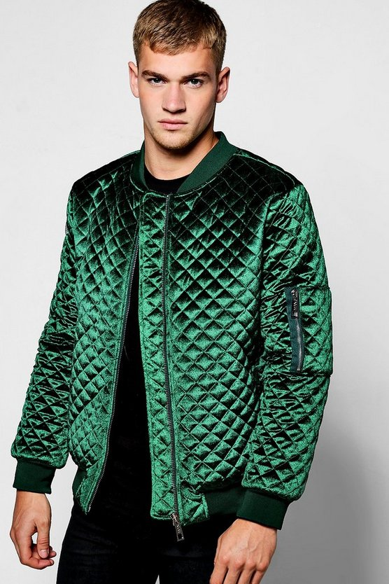 Emerald Diamond Quilted Velour Bomber Jacket