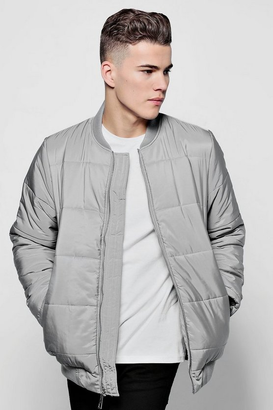 Grey Quilted Jacket With Bomber Neck
