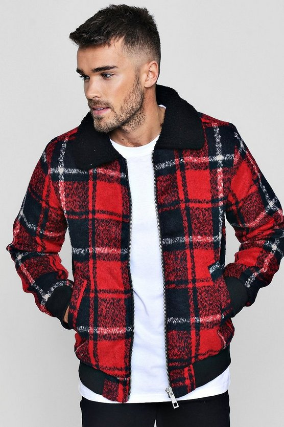 Check Harrington Jacket With Faux Fur Collar