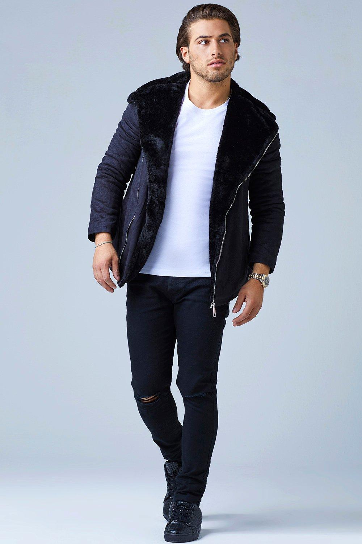 Fur Lined Suedette Aviator Jacket - black