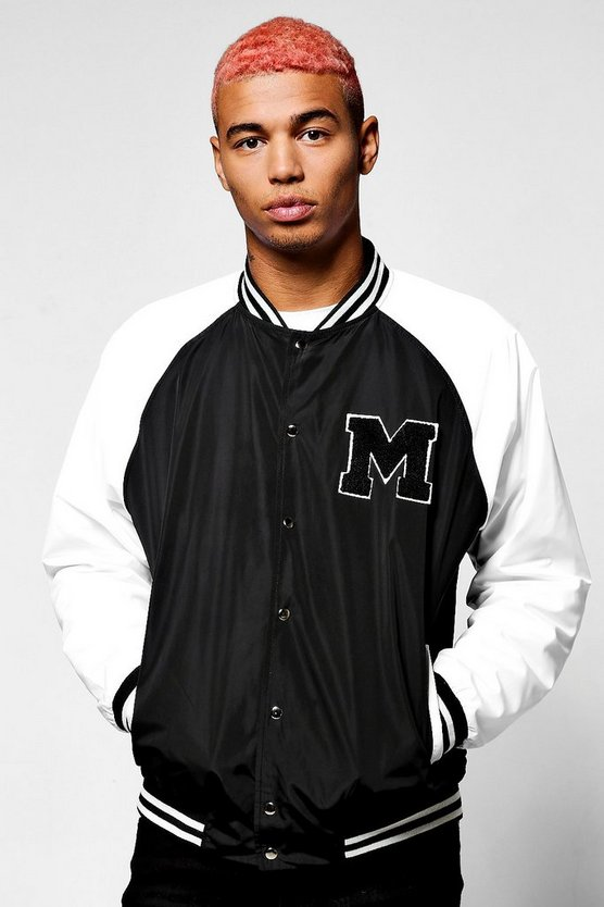 Black Raglan Bomber Jacket With Applique Badge