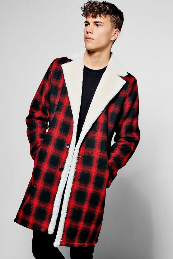 Longline Faux Fur Lined Check Overcoat