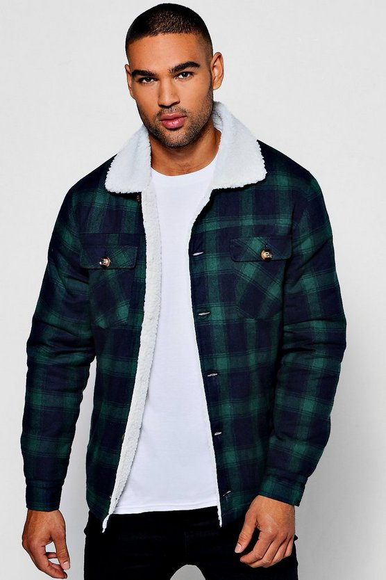 Borg Detail Quilted Check Jacket
