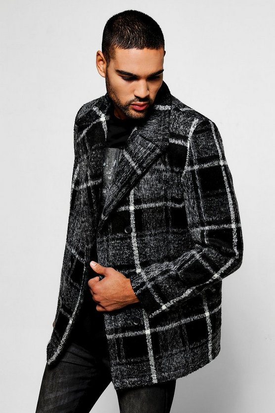 Grey Brushed Check Peacoat