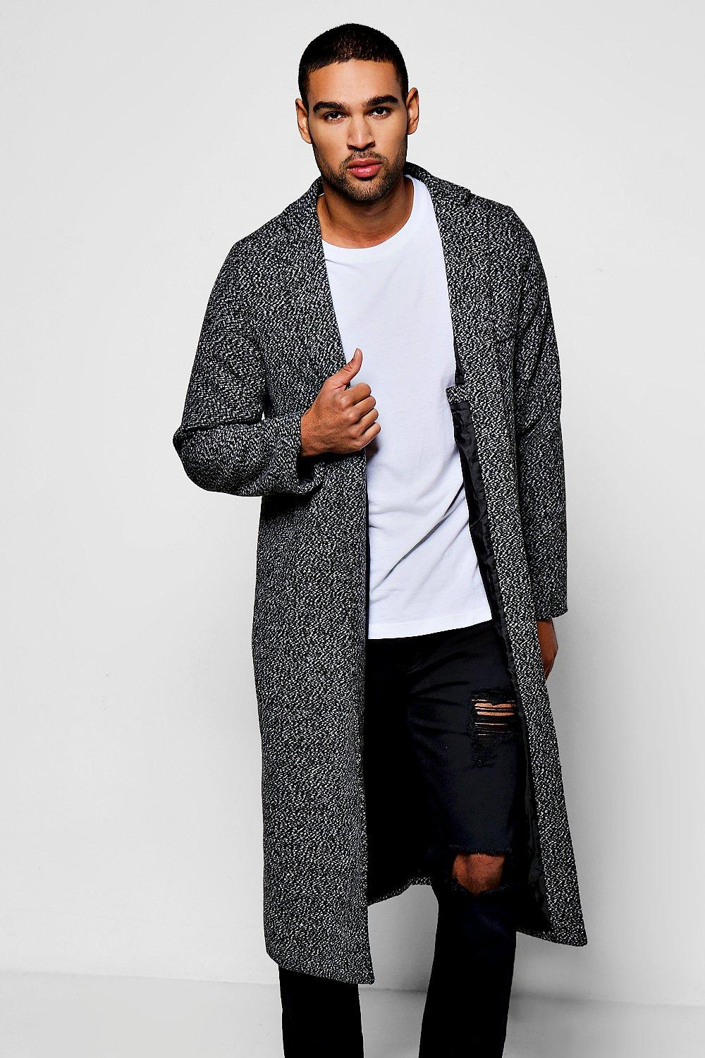 Full Length Wool Look Duster Coat - black