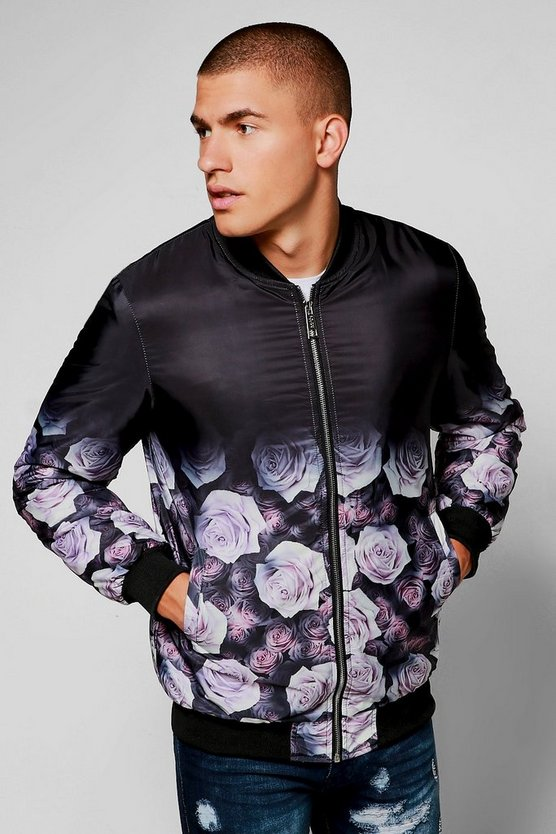 Quilted Ombre Rose Print Bomber Jacket