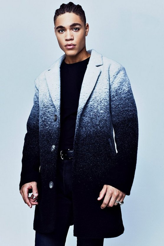 Premium Grey Wool Mix Ombre Effect Overcoat