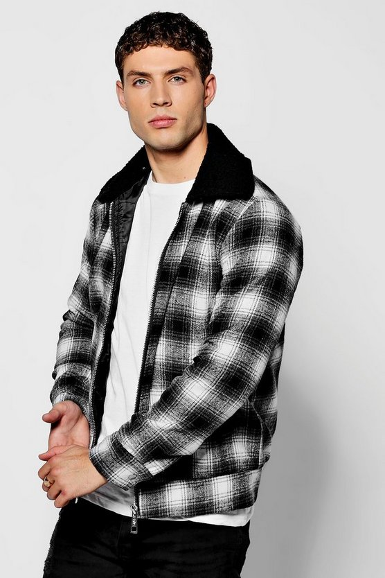 Black Check Harrington With Borg Collar