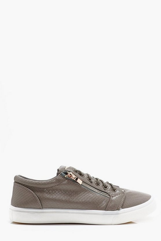 Faux Skin Zip Detail Trainers