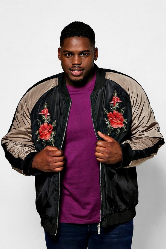 Big And Tall Black Raglan Rose Badged Bomber