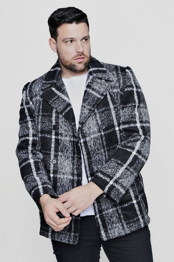 Big And Tall Grey Brushed Check Peacoat