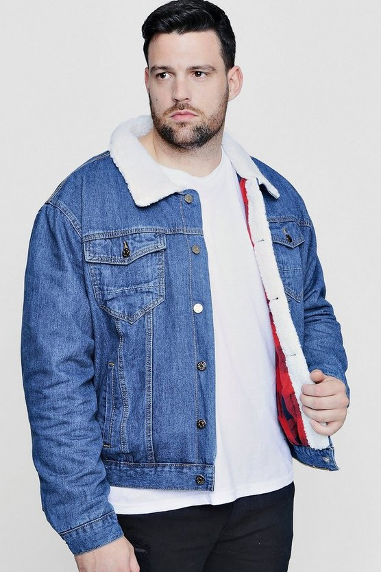 Big And Tall Borg Detail Denim Jacket