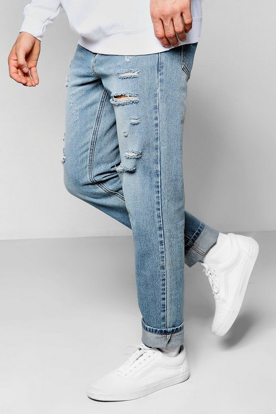 Antique Wash Ripped Denim Jeans In Slim Fit