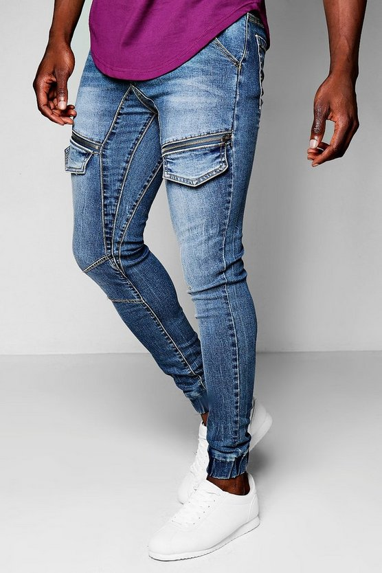 Skinny Fit Cuffed Denim Flight Pants