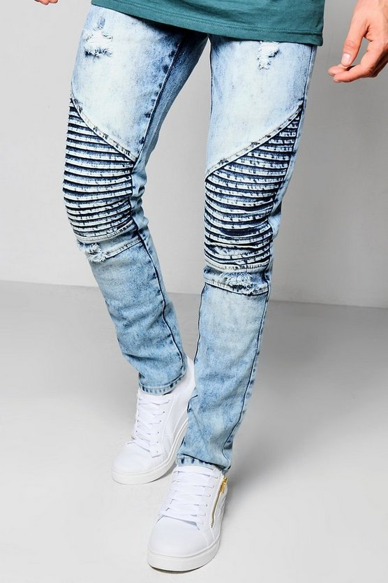 Blue Wash Biker Jean In Slim Fit