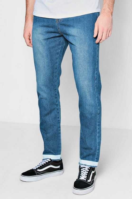 Mid Blue Printed Hem Rigid Jeans In Slim Fit