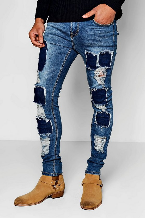 Mid Blue Skinny Fit Ripped Patch Work Jeans