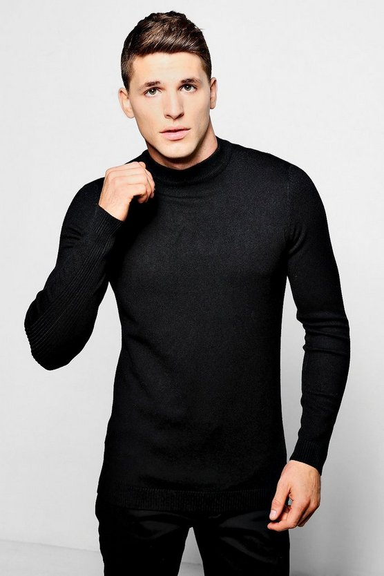 Black Fine Gauge Knitted Turtle Neck Ribbed Panels