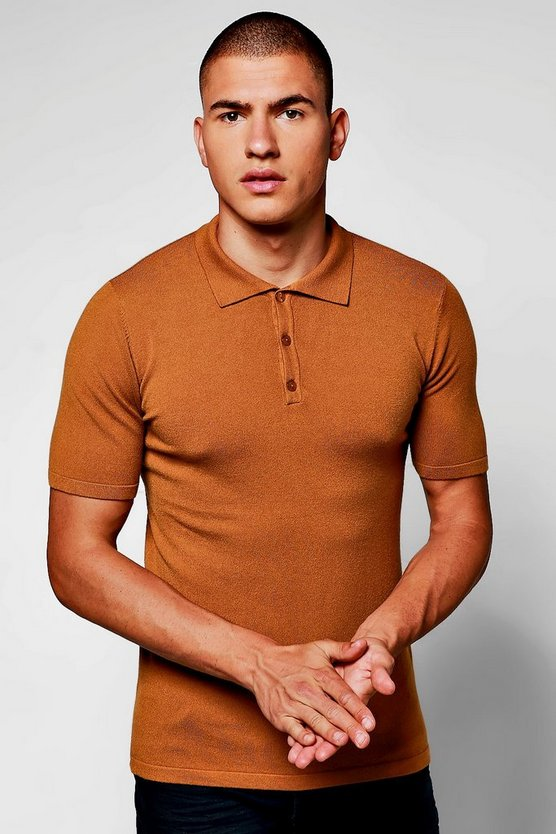 Short Sleeve Button Through Knitted Polo