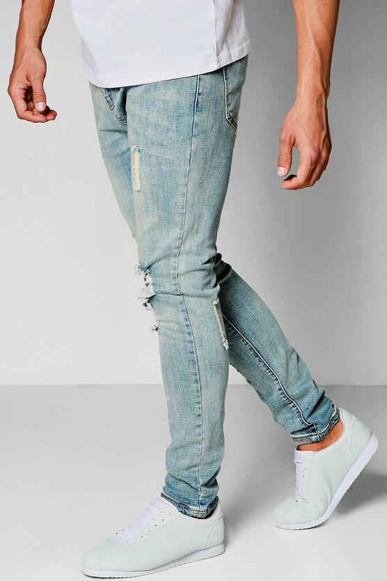 Washed Blue Skinny Fit Ripped Knee Jeans