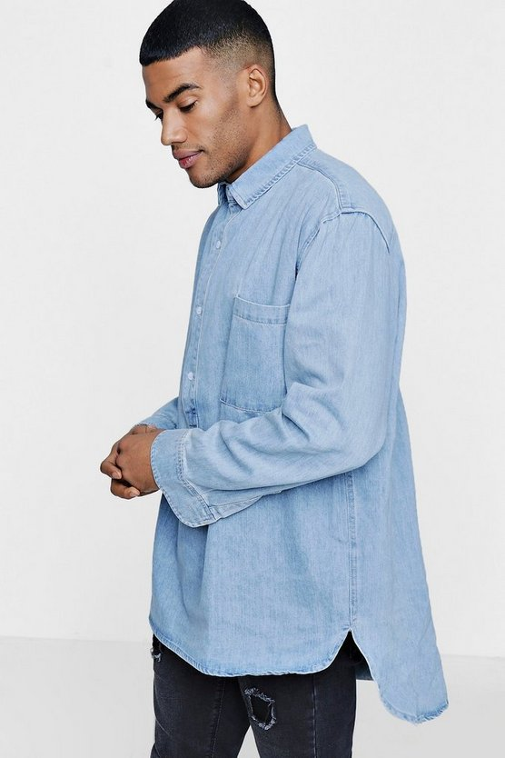 Oversized Denim Shacket With Placket