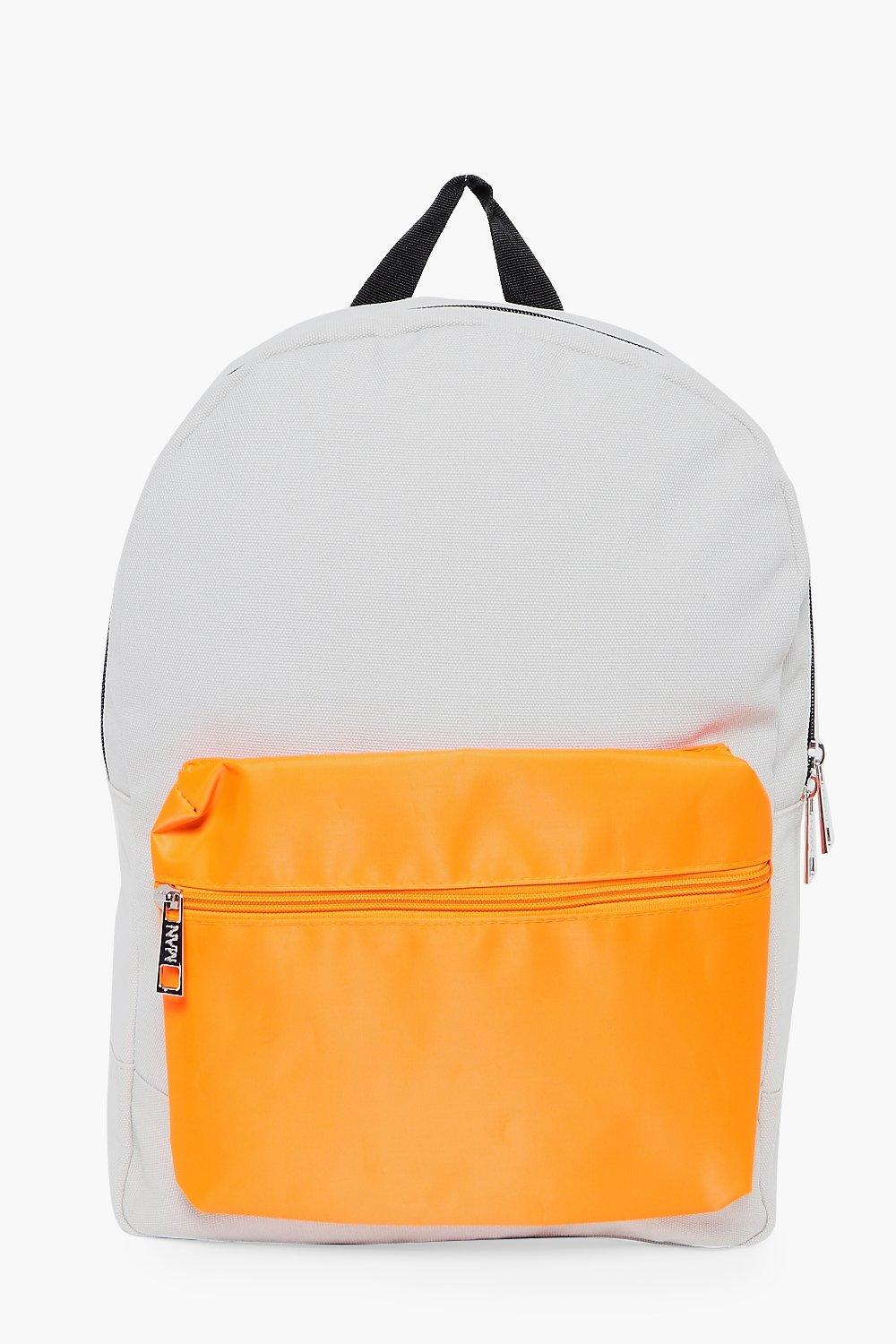 Backpack With Contrast Pocket - silver - Nylon Bac
