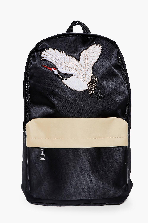 Backpack - black - Embroidered Backpack - black