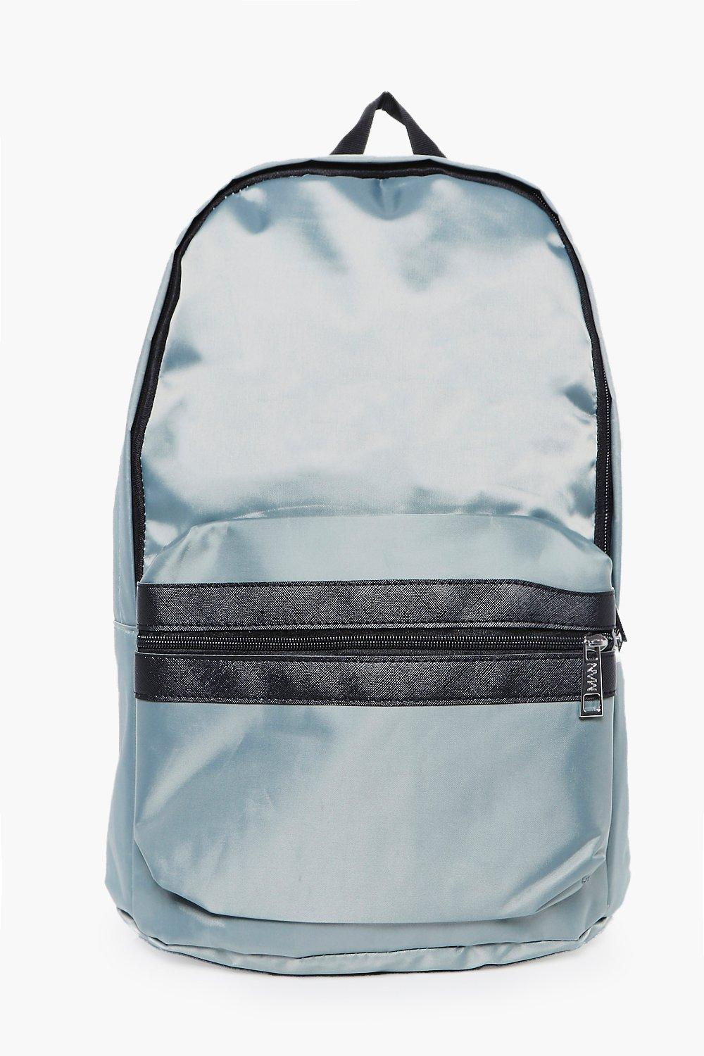 Nylon Backpack With Contrast Trim - silver - Silve