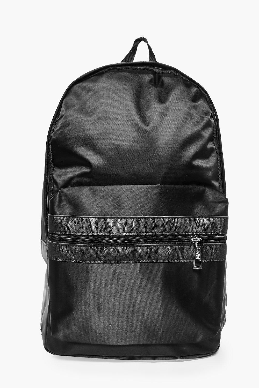Nylon Backpack With Contrast Trim - black - Black