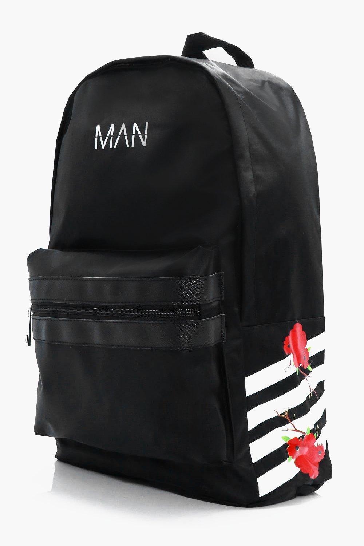 Floral Print Stripe Backpack - black - MAN Floral