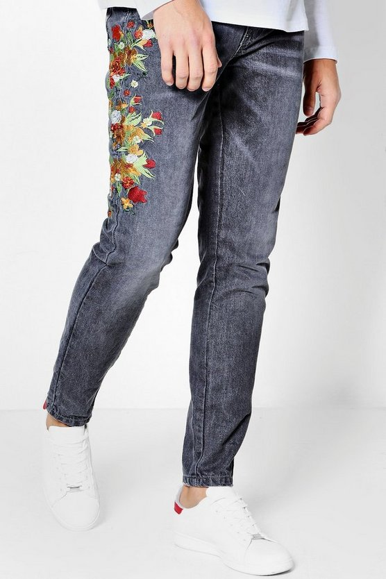 Skinny Fit Floral Embroidered Jeans