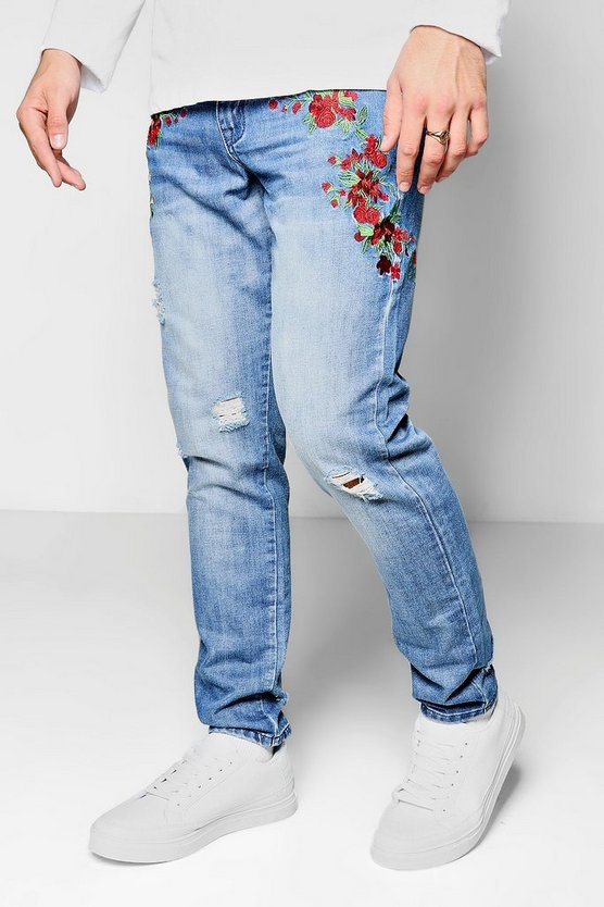 Skinny Fit Floral Pocket Embroidered Jeans