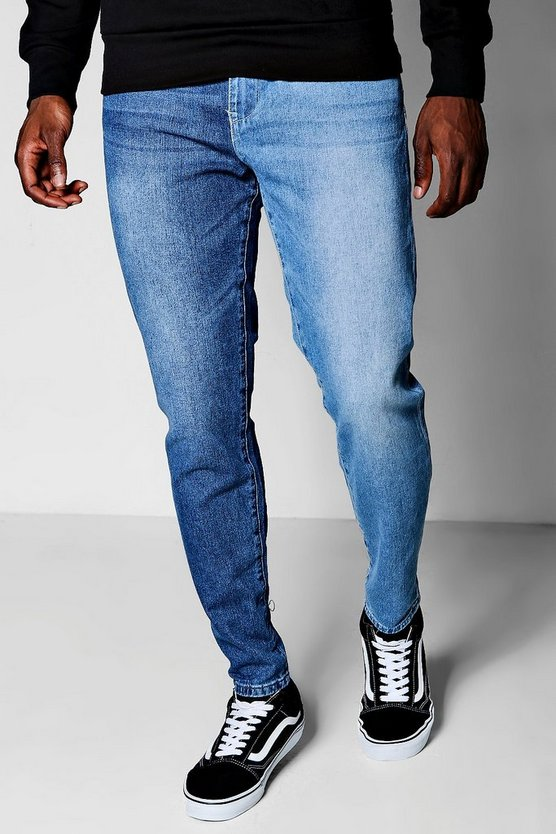 Skinny Fit Blue Wash Spliced Denim Jeans