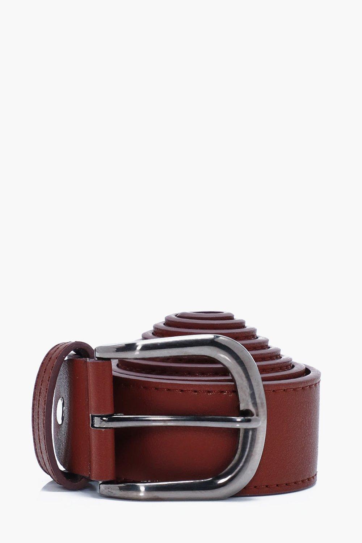 Faux Leather Belt - oxblood - Oxblood Faux Leather