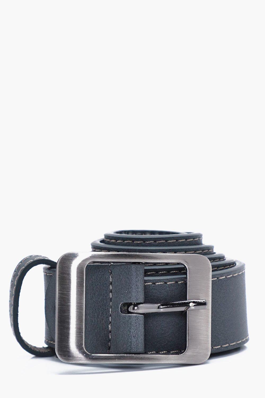 Faux Leather Belt - grey - Grey Faux Leather Belt