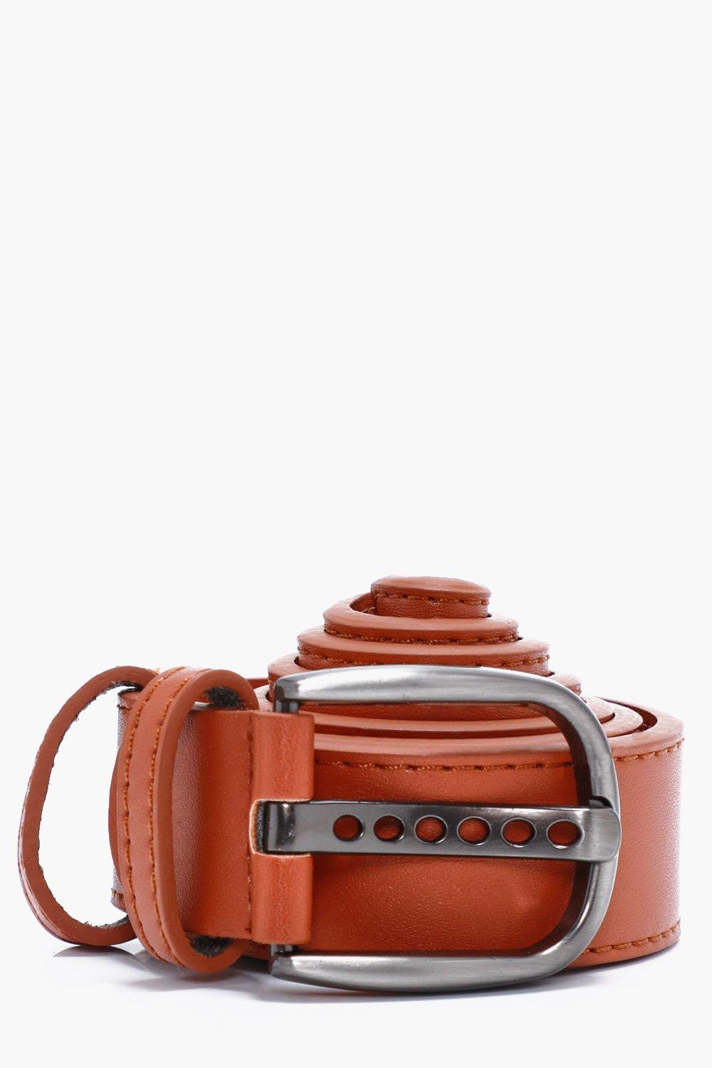 Faux Leather Belt With Double Holder - tan - Tan F