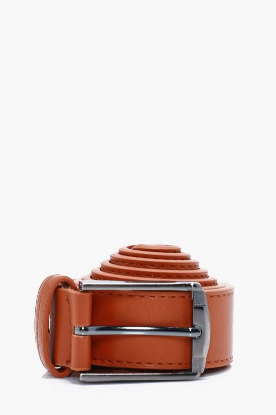 Tan Faux Leather Belt With Square Buckle