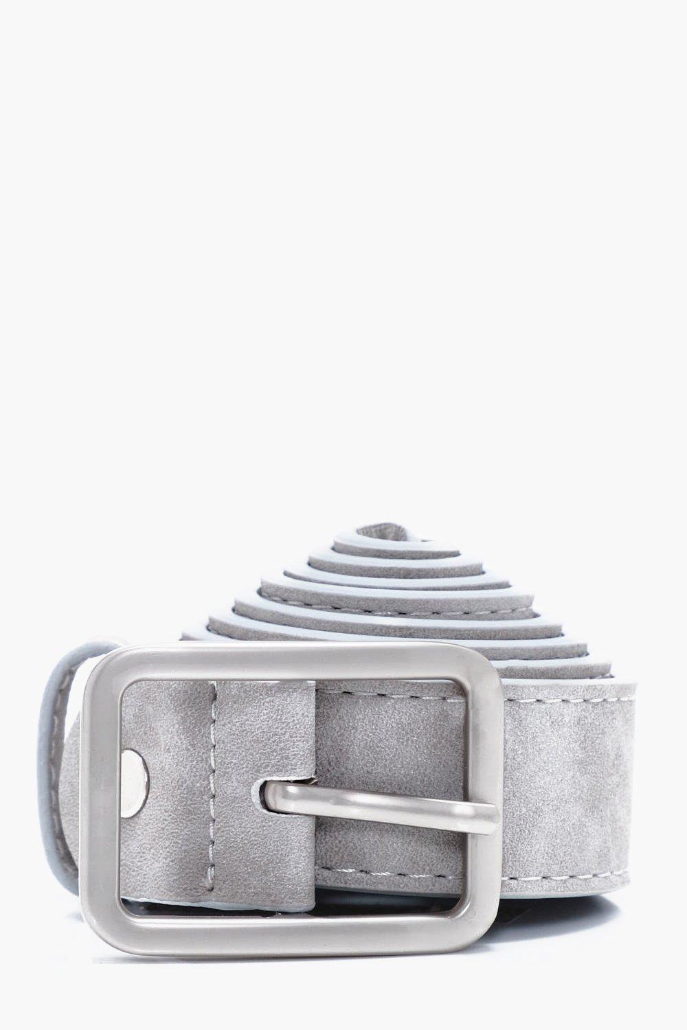 Faux Leather Textured Belt - grey - Grey Faux Leat