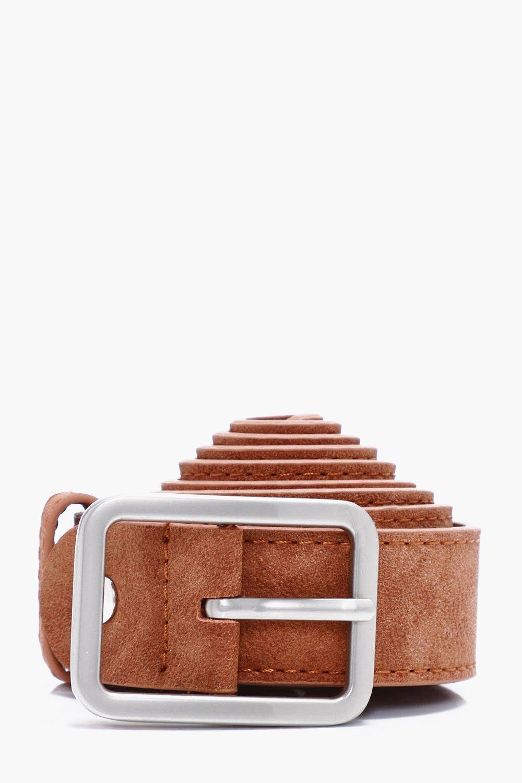Faux Leather Textured Belt - tan - Tan Faux Leathe