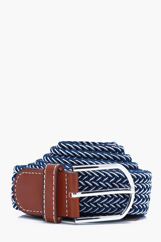 Elasticated Belt With Contrast Thread - blue - Blu