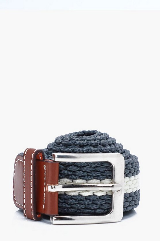 Grey Micro Plait Elasticated Belt