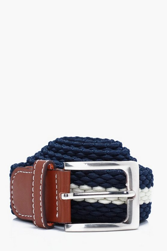 Navy Micro Plait Elasticated Belt
