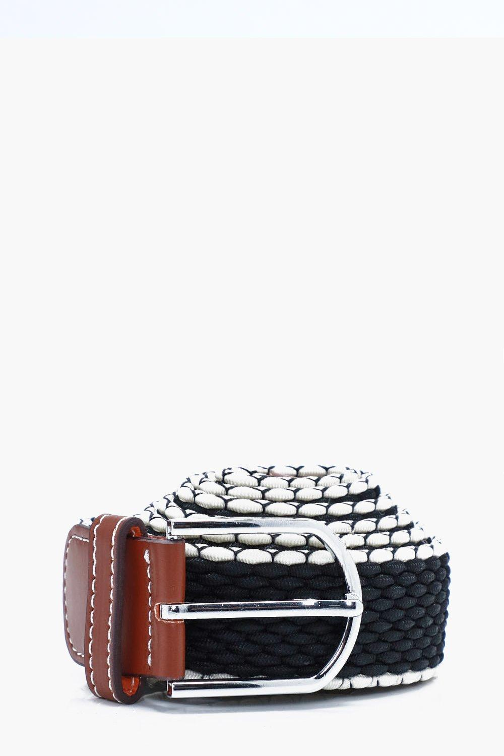 Elasticated Belt With Contrast Edge - black - Blac