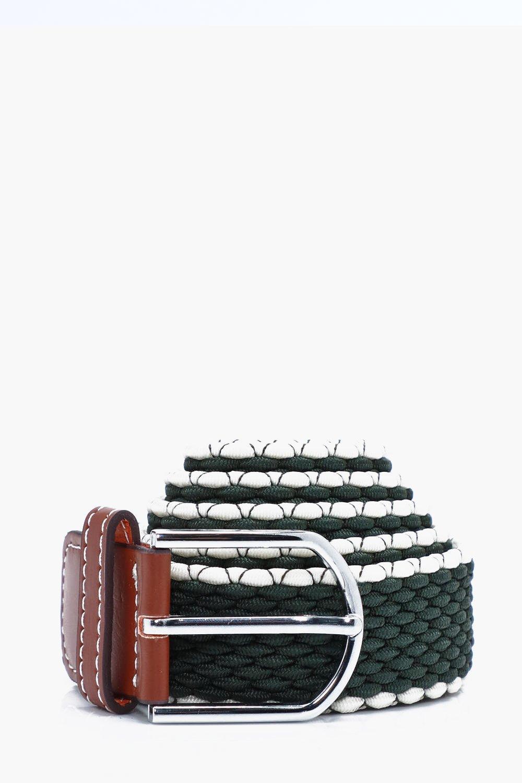 Elasticated Belt With Contrast Edge - khaki - Khak