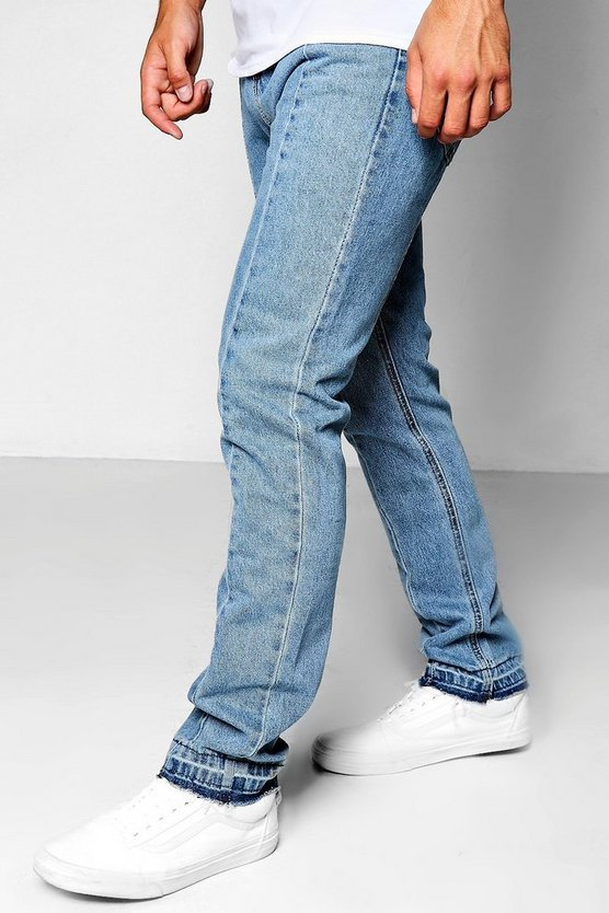 Mid Blue Slim Fit Panelled Denim Jeans