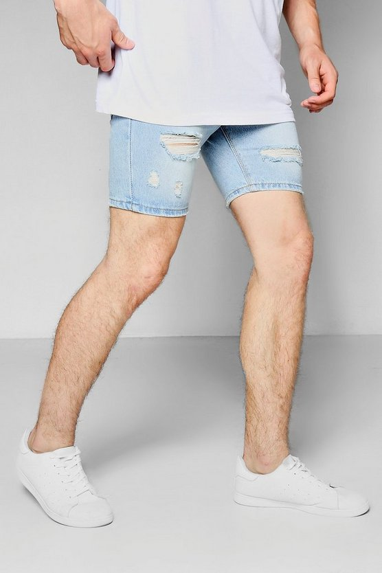 Blue Denim Shorts With Distressing
