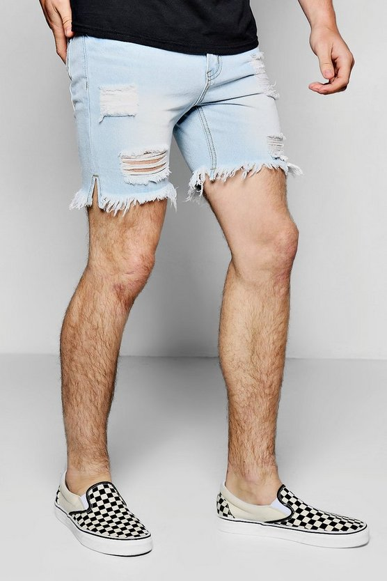 Pale Blue Slim Fit Destroyed Denim Shorts