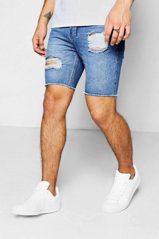 Mid Blue Distressed Turn Up Denim Shorts