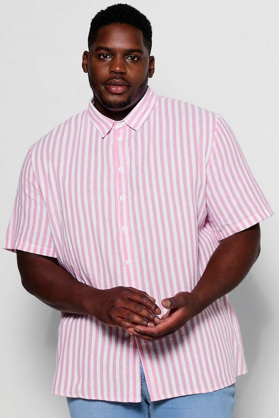Big And Tall Short Sleeve Striped Pink Shirt